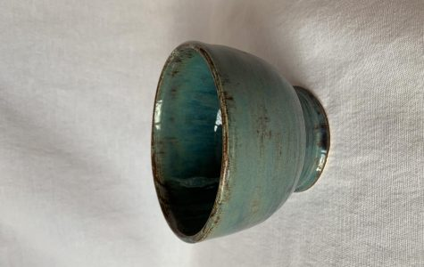 Cyan glazed bowl by Meagan Steck '19